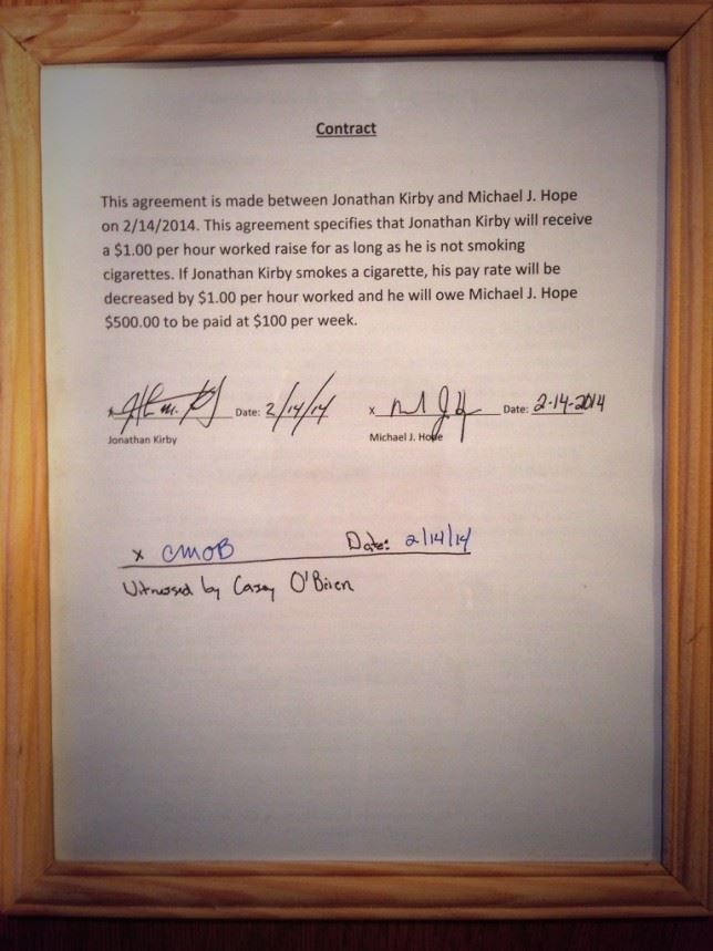 Our contract with Jonathan